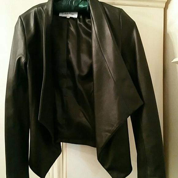 b314bbcac Calvin Klein black leather jacket xs